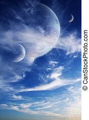 sonnenuntergang, in, ausländer, planet