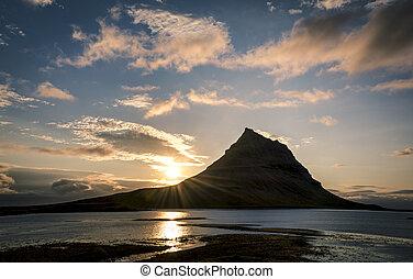 sonnenuntergang, in, island