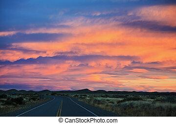 sonnenuntergang, in, patagonia