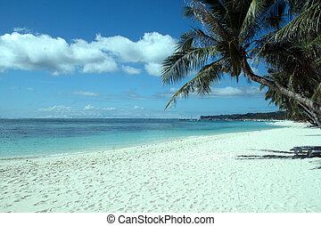 sonnenuntergang, in, thailand, weißer sand, blau,...