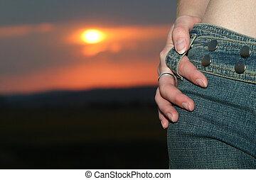 sonnenuntergang, jeans