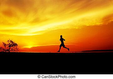 sonnenuntergang, jogging, silhouette, mann