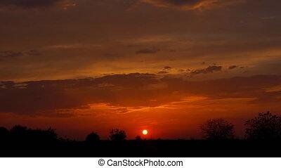 sonnenuntergang, ländlich, bauernhof, wiese, horizont,...