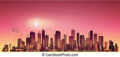 sonnenuntergang, nacht, mondschein, cityscape, oder, modern