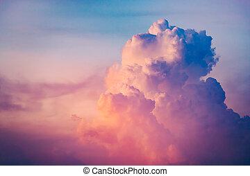 sonnenuntergang, nahaufnahme, wolkenhimmel, bunte, sky.