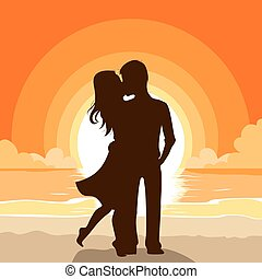 sonnenuntergang, paar, sandstrand, küssende
