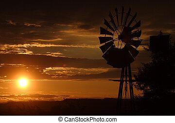 sonnenuntergang, per, der, altes , windmühle