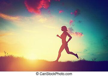 sonnenuntergang, rennender , frau, silhouette