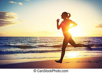 sonnenuntergang, rennender , frau