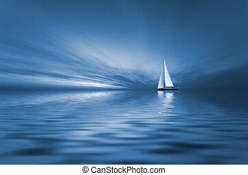 sonnenuntergang, segeln