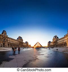 sonnenuntergang, shines, durch, der, glas, pyramide lattenfensters, museum