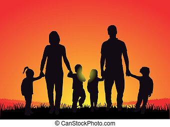 sonnenuntergang, silhouette, familie