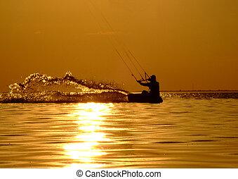 sonnenuntergang, silhouette, golf, kitesurf