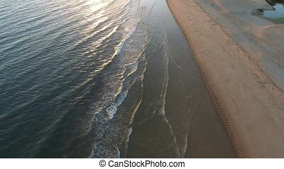 sonnenuntergang, strand, in, quarteira, fischer, ertappen, clams., tal, de, lobo, portugal.