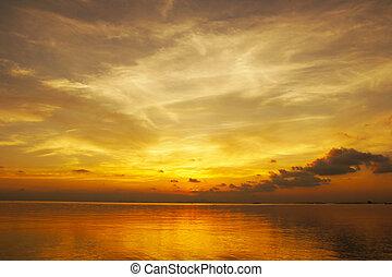 sonnenuntergang, thailand., himmelsgewölbe, songkla, see