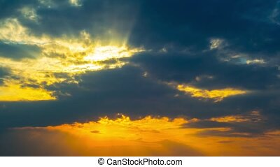 sonnenuntergang, und, a, dramatischer himmel, timelaps