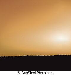 sonnenuntergang, und, savanne