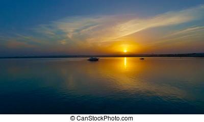 sonnenuntergang, von, der, rotes meer, in, ägypten