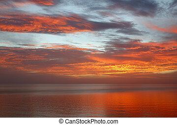 Sonnenuntergang, wasserlandschaft