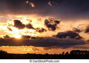 sonnenuntergang, wolke, dunkel