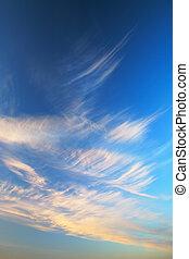 sonnenuntergangshimmel, mit, wolkenhimmel
