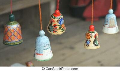 sonner, coloré, fête, bois, traditionnel, cloches