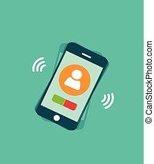 sonner, mobile, signal, vibration, illustration, téléphone, vecteur, vagues