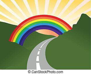 sonnig, landschaftsbild, mit, regenbogen