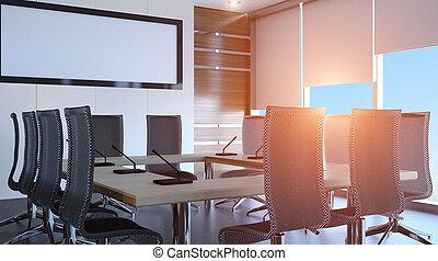 sonnig, morgen, in, der, modern, büro., 3d, rendering.