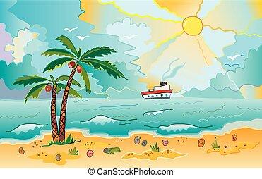 sonnig, sandstrand, handflächen, schalen