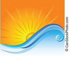 sonnig, sandstrand, schablone, logo