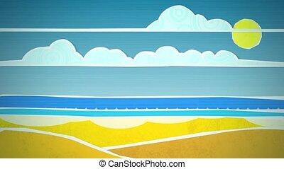 Sonnig, sandstrand, Szene,  HD, schleife
