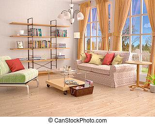 Sonnig, Wohnzimmer, Interior., 3d, Illustration.