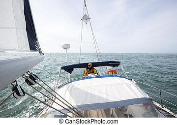 sonnig, yacht, tag, luxus, meer, lenkung, mann