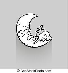 sonno, illustrazione, tempo