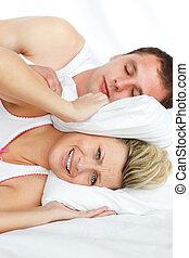sono, homem, roncar, mulher, tentando