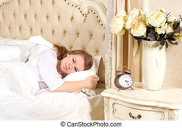 sono, mulher, mentindo, cama