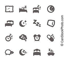 sono, poço, ícones