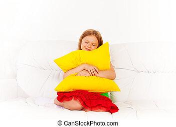 sonolento, com, travesseiro