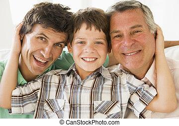 sonreír., aduelo, nieto, hijo