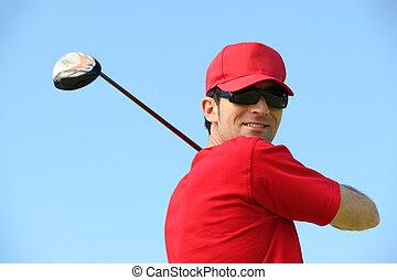 sonreír., cabeza, golfista, hombros