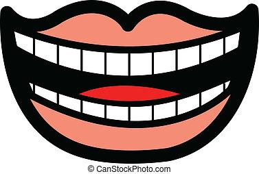sonreír feliz, boca, mostrar dientes