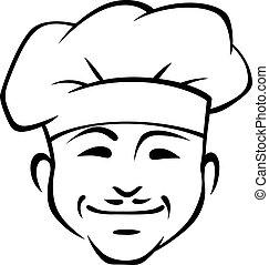 sonreír feliz, chef, con, un, poco, bigote