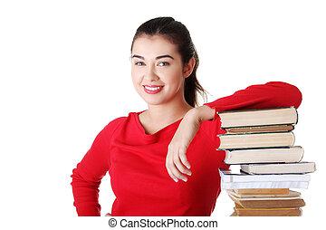 sonreír feliz, joven, estudiante, mujer libros
