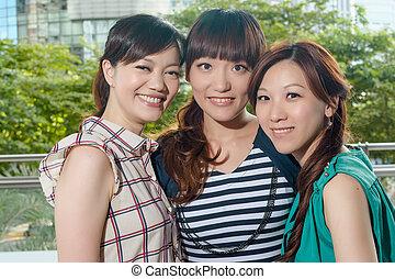 sonreír feliz, mujer asiática