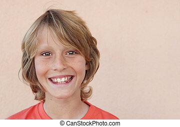 sonreír feliz, niños, cara