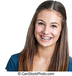 sonriente, adolescente niña, actuación, dental, braces.