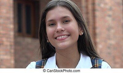 sonriente, adolescente niña, feliz, gente