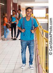 sonriente, africano, colegio, niño