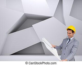 sonriente, arquitecto, con, sombrero duro, el mirar, planes